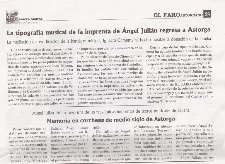 La imprenta de Angel Julian vuelve a Astorga