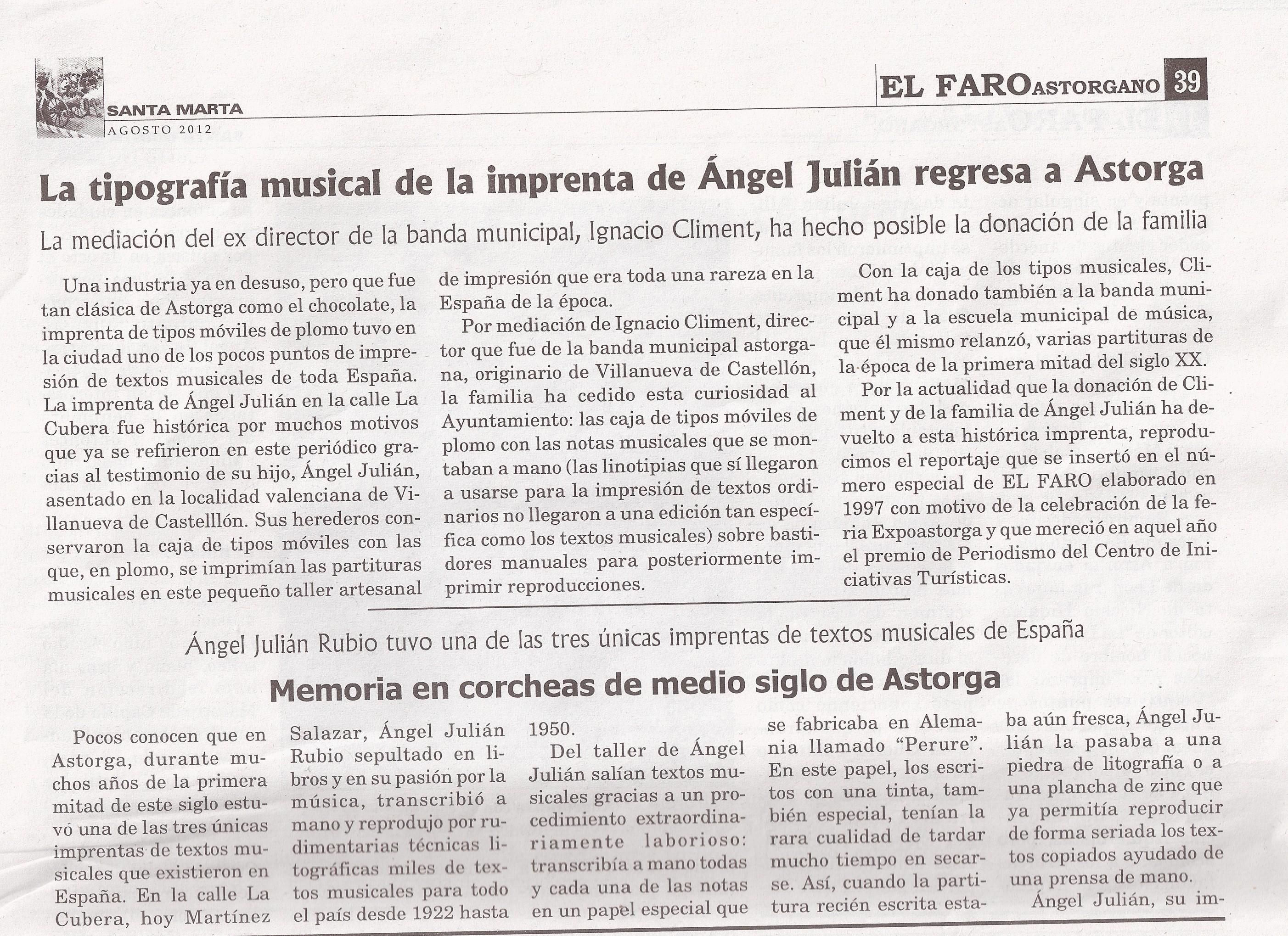 La tipografía musical de la imprenta de Ángel Julián regresa a Astorga