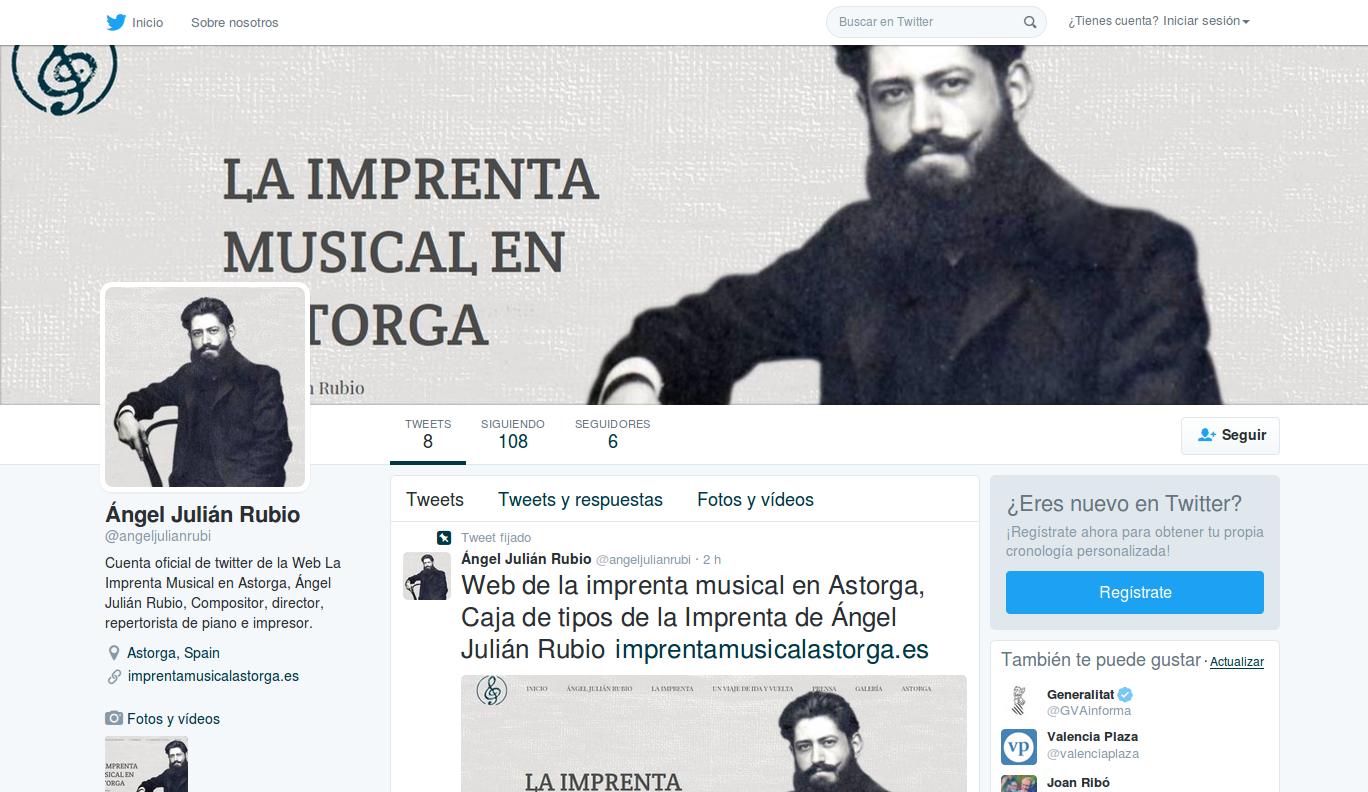 Cuenta en Twitter de la Web de la Imprenta Musical de Ángel Julián Rubio
